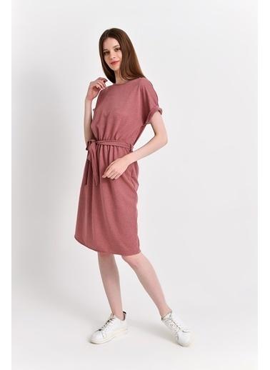 Cottonmood 9292931 Ikiiplik Beli Lastikli Yarasa Kol Elbise Gri Melanj Kırmızı